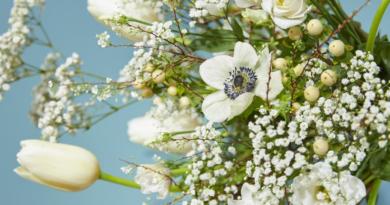Strauß-Rezept Tulpen Frühling Blumen Blüten Anemonen Weiße Tulpen SChleierkraut Hypericum Lisianthus Blütenzweige schritt für schritt inspiration idee vase Floristen Blumenkunst Kreationen floral art floral designs Blütenblättern Frühjahr Wintertulpen Fleur Kreativ Magazin