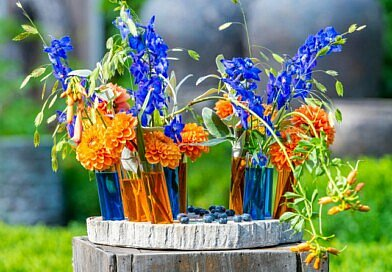 Fleur Kreativ: Sommer DIY: Orange-blaues Blumensorbet